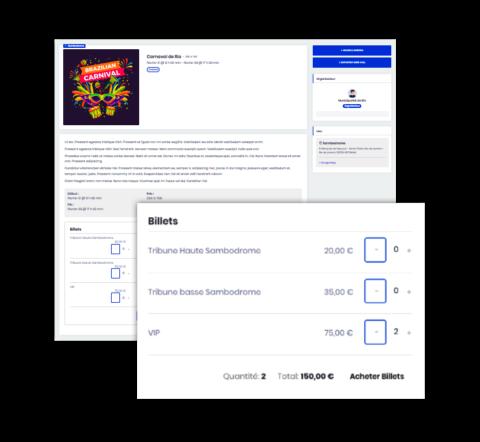 Illustration de solution de billetterie en ligne, gestion des inscriptions et contrôle d'accès