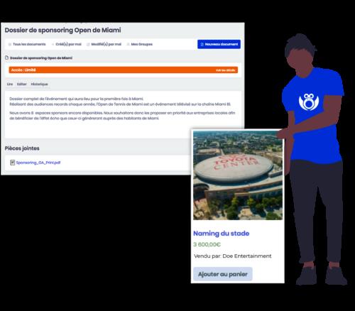 Illustration de mise à disposition d'un commercial chargé de sponsoring (sales manager) pour trouver de nouveaux sponsors