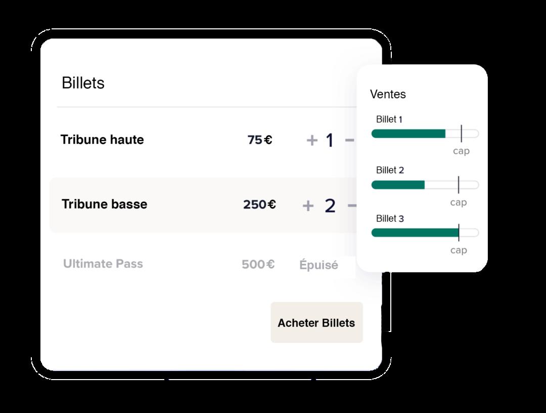 Billetterie en ligne Silad events montrant fonctionnalité de réglage de capacité de ventes